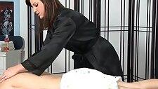 Tat masseuse sucking a big dick