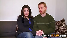 Amazingly stunning stunner and her beau joining a swingers soiree