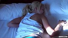 Beautiful bubble butt blonde Destiny is woken up for rough sex