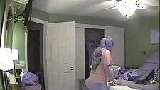 Hidden cam in bed room of my mum caught great masturbation