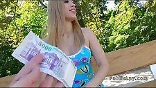 Fit Euro blonde amateur teen fucking outdoor in forest