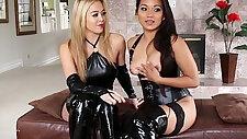 Booted femdom lesbian pleasured by asian sub