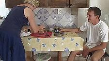 Blonde Granny Morning Cock Breakfast