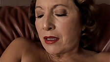 Gorgeous granny with tits sucks and fucks her juicy pussy for you