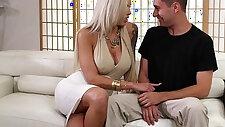 Pornstar Nina Elle fucks hard cock between bigtits