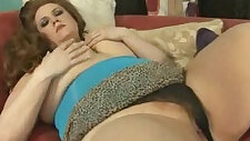 Sexy Redhead BBW Julie Ann More Fucks her wet Pussy