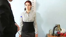 Shocking nude job interview for redhead teen brunette babe
