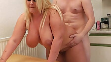Blonde amateur gets her wet cunt licked and doggy fucked by boss
