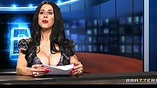 News anchor Louise Jensen is distracted at work by a huge black monster cock