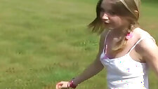 Innocent teen Kitty flashing her pink panties