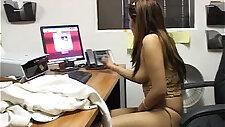 Asian slut has a wank job on a leather chair