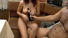 Drunk Russian housewife gets banged