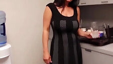 Busty mature her cock in the kitchen