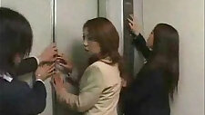 Asian girls in trouble in a lift gangbanged